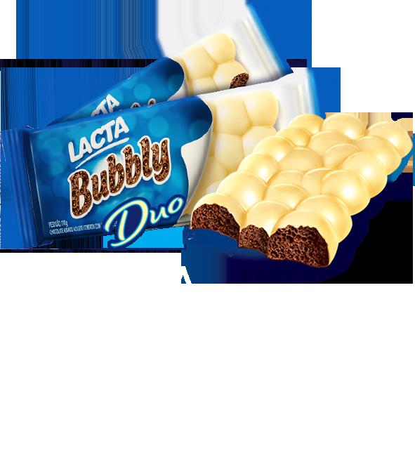 DUPLA REDONDAMENTE IRRESISTÍVEL! EXPERIMENTE BUBBLY DUO, AERADO E REDONDINHO COM COBERTURA DE CHOCOLATE BRANCO.